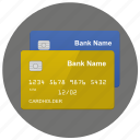 bank, cards, credit, round icon