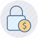 dollar, financial security, lock, lock and security, security icon