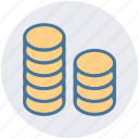 cash, coins, currency, dollar, dollar coins, money icon