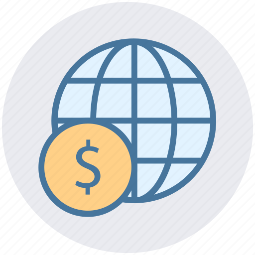 dollar sign, financial network, global currency, global finance, network, worldwide icon