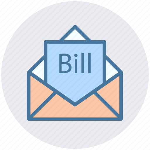 bill email, bill in letter, email, invoice, letter, letter envelope icon