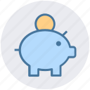 dollar, money, money box, penny bank, piggy bank icon