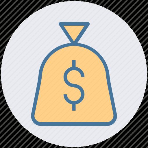 cash, cash bag, money, payment, price, sack of money icon