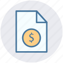 bill, document, dollar sign, file, money, paper icon