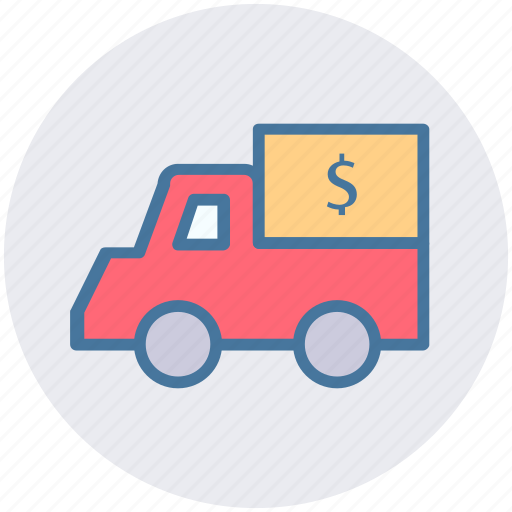currency, dollar, dollar van, money, truck, van icon