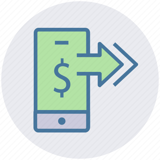 arrows, dollar, dollar sign, mobile, online payment, smartphone icon