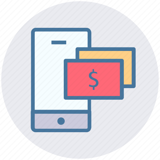 concept, currency, dollar, mobile, money, payment icon