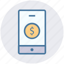 dollar, dollar sign, mobile, online payment, smartphone icon