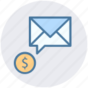 dollar envelope, dollar sign, envelope, letter, message icon