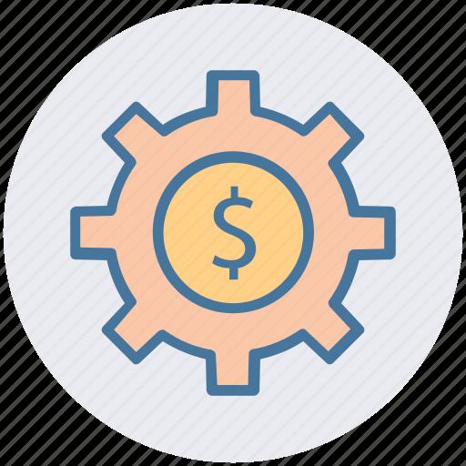 dollar in gear circle, dollar sign, gear, gear business, gear financial icon