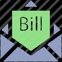 bill email, bill in letter, email, invoice, letter, letter envelope