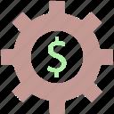 dollar in gear circle, dollar sign, gear, gear business, gear financial
