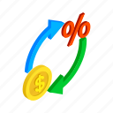 arrow, currency, economy, finance, isometric, money, price icon
