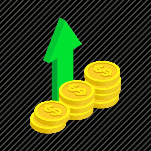 arrow, currency, economy, finance, isometric, money, price icon