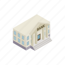 architecture, bank, building, column, finance, investment, isometric