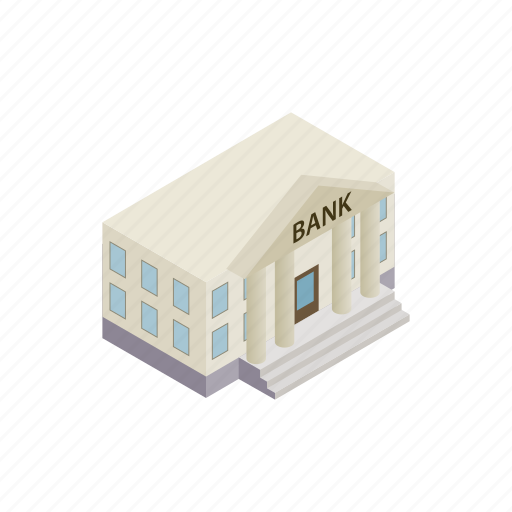 architecture, bank, building, column, finance, investment, isometric icon