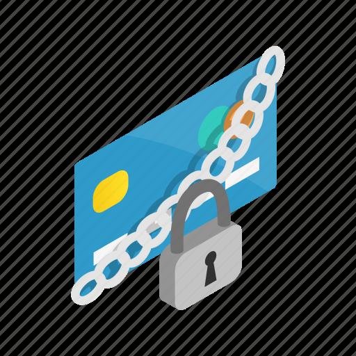 banking, credit, finance, isometric, lock, padlock, security icon