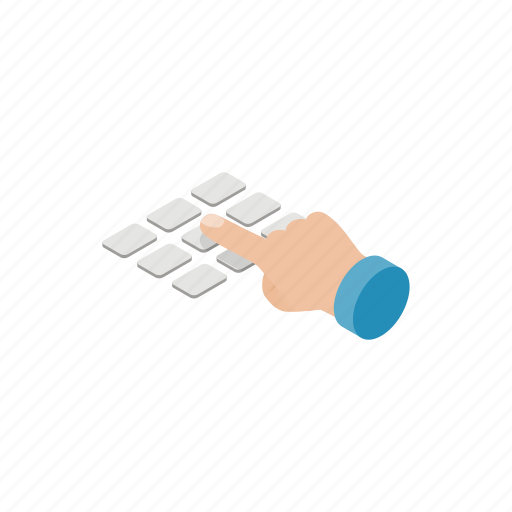 atm, bank, finance, hand, isometric, keyboard, machine icon
