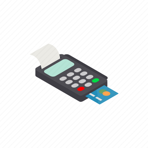 bank, card, credit, isometric, payment, terminal, transaction icon