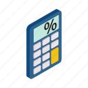 business, calculator, display, electronic, isometric, math, mathematics icon