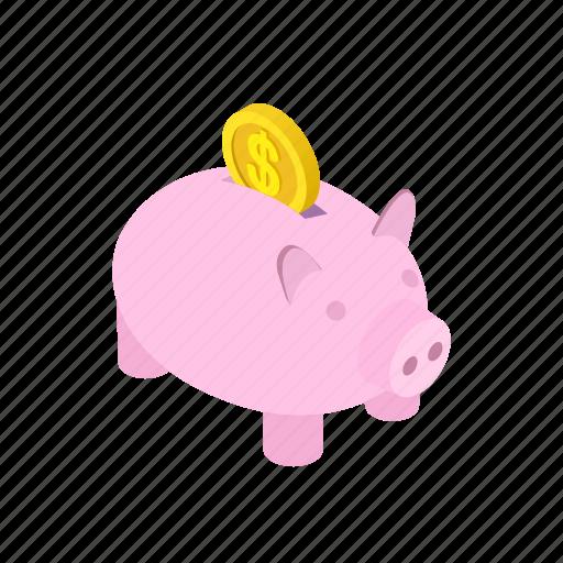 bank, coin, finance, isometric, money, piggy, saving icon