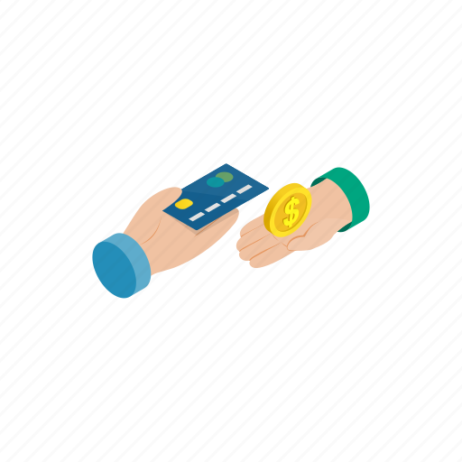 banking, business, card, coin, finance, hand, isometric icon