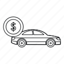finance, car, loan, isolated, money, line, outline icon