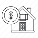finance, house, dollar, isolated, home, line, outline icon