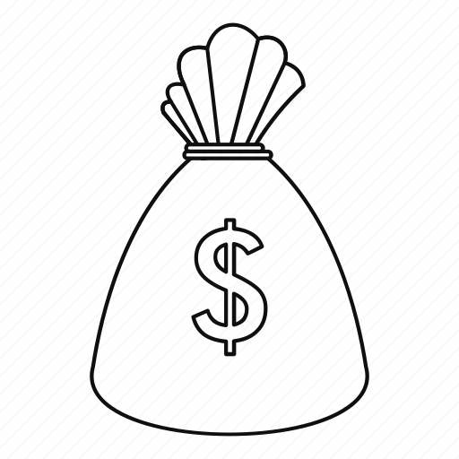 bag, dollar, isolated, line, money, outline, sack icon