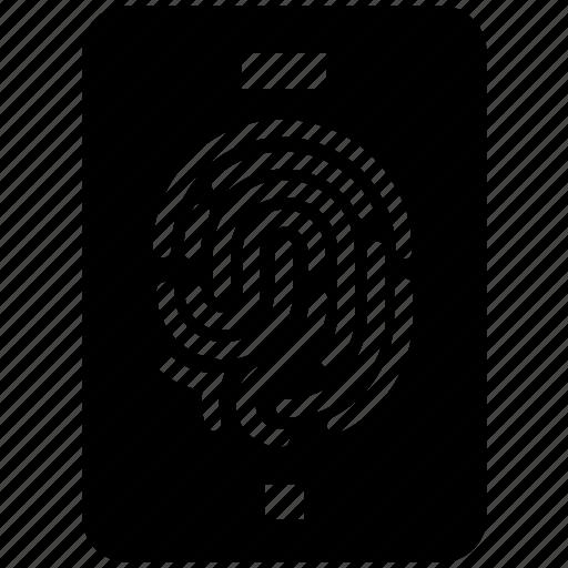 fingerprint, mobile, security, sensor, smartphone icon