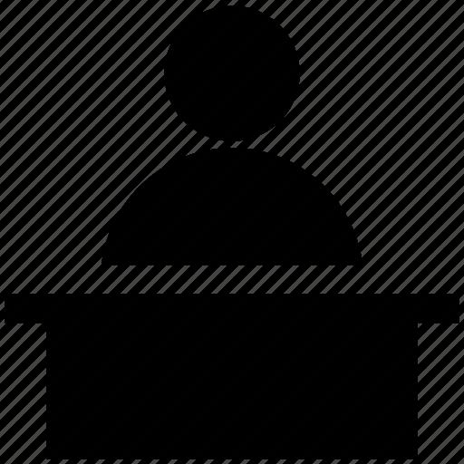 announcement, desk, man, person, worker icon