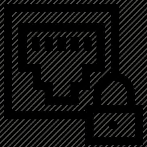 ethernet, lock, rj45, secure icon
