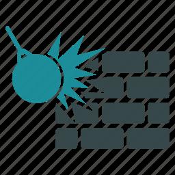 break, crash, damage, destroy, destruction, remove, wall icon