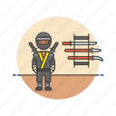 crime, man, ninja, samurai, spy, sword, train, warrior icon