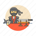 avatar, crime, man, ninja, spy, star, sword, warrior icon