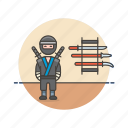 crime, man, ninja, samurai, sword, train, warrior icon