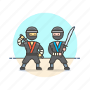 ninja, sword, couple, fight, warrior, security, train, combat