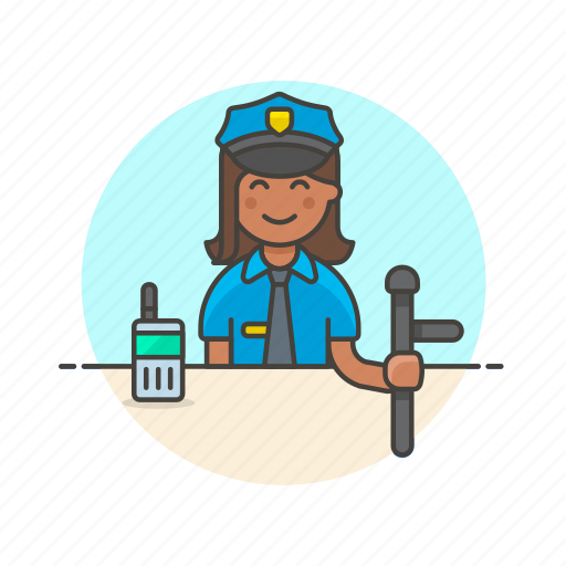 avatar, cop, crime, nightstick, officer, police, walkie-talkie, woman icon