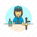 cop, crime, nightstick, officer, police, walkie-talkie, woman icon
