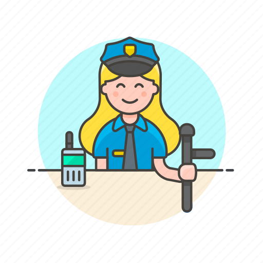 crime, law, nightstick, officer, police, walkie-talkie, woman icon