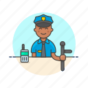 avatar, crime, man, nightstick, officer, police, walkie-talkie icon