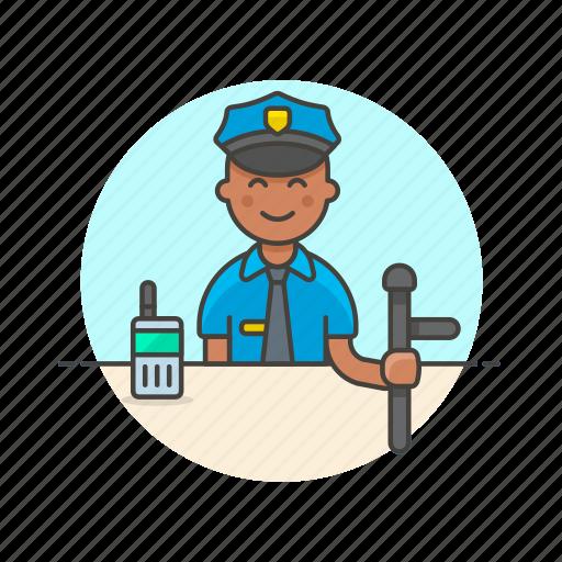 avatar, crime, man, nightstick, officer, police, walkie-talkie icon