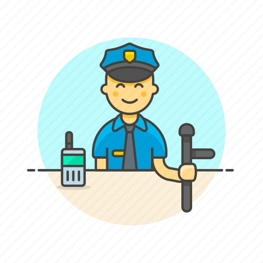 crime, law, man, nightstick, officer, police, walkie-talkie icon