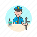 avatar, cop, crime, man, nightstick, officer, police, walkie-talkie icon