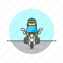 crime, motorcycle, officer, patrol, police, ride, vehicle, woman icon