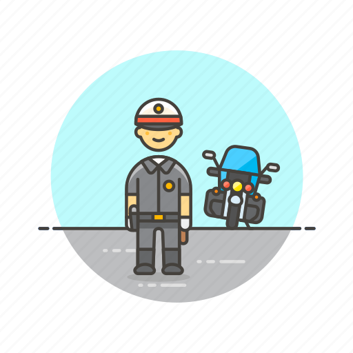 crime, man, motorcycle, officer, patrol, police, vehicle icon