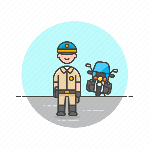 car, crime, man, motorcycle, officer, patrol, police, vehicle icon