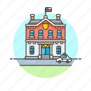 building, car, crime, institution, law, police, station icon