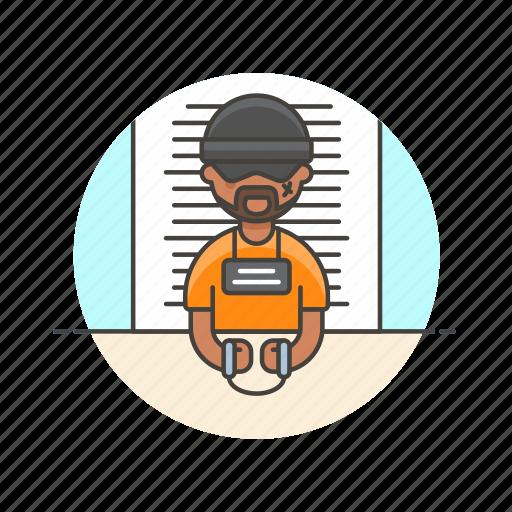 avatar, crime, criminal, handcuffs, jail, man, police, prisoner icon