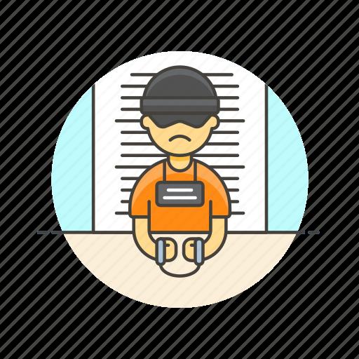 Crime, police, prisoner, jail, man, criminal, handcuffs icon - Download on Iconfinder